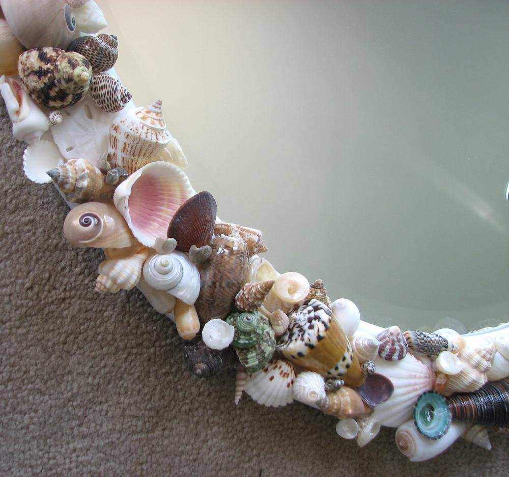 Beach Decor Seashell Mirror Nautical Decor Shell Mirror