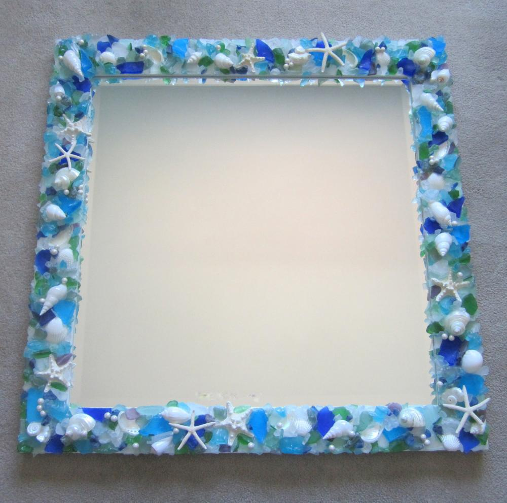 Shell Mirror for Beach Decor - Seashell Mirror w Sea Glass & Starfish - Square, Any Color