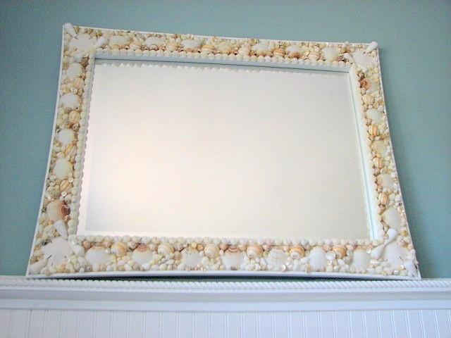 Beach Decor Seashell Mirror - Nautical Decor Shell Mirror, Customized Lg Rectangular