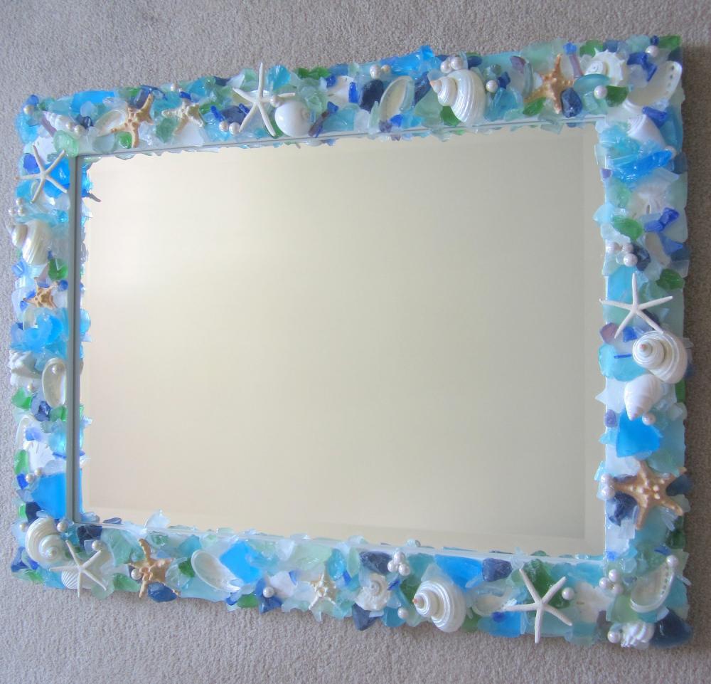 Seashell Mirror W Sea Gl
