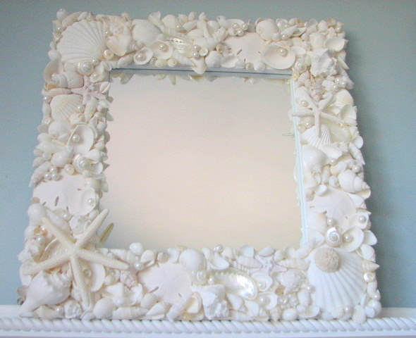 Beach decor seashell mirror nautical decor shell mirror all white w starfish pearls on luulla - Wall decoration with pearls ...
