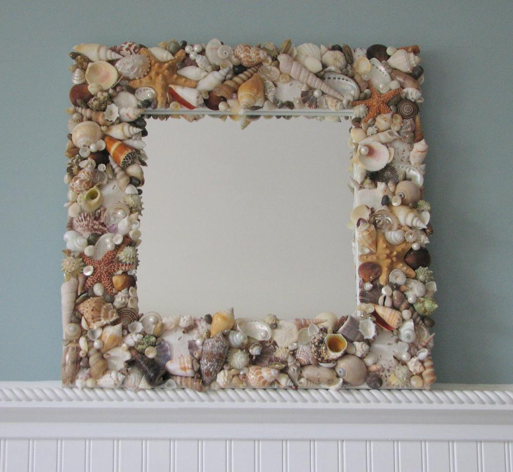 Beach decor shell mirror nautical decor natural seashell mirror w starfish pearls 18in on - Wall decoration with pearls ...