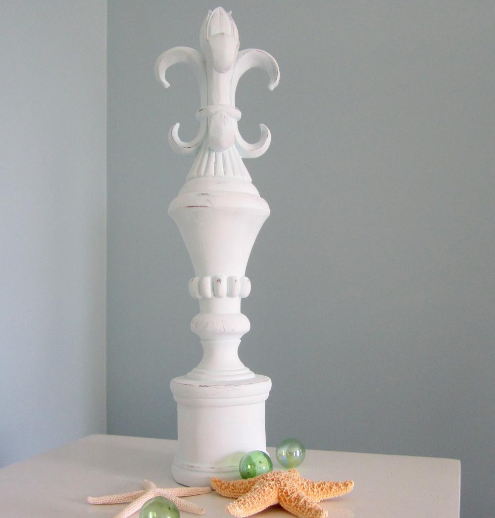 Beach Decor Finial - Nautical Chic Tall Fleur-de-Lis Decorative Finial, Light Aqua
