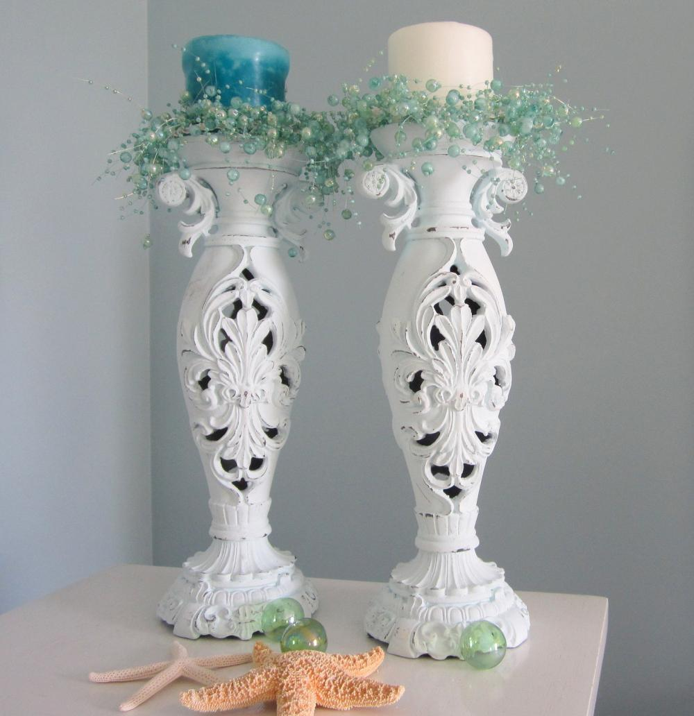 Beach Decor Candlesticks - Nautical Cottage Shabby Chic Candle Sticks , Light Aqua, Ornate