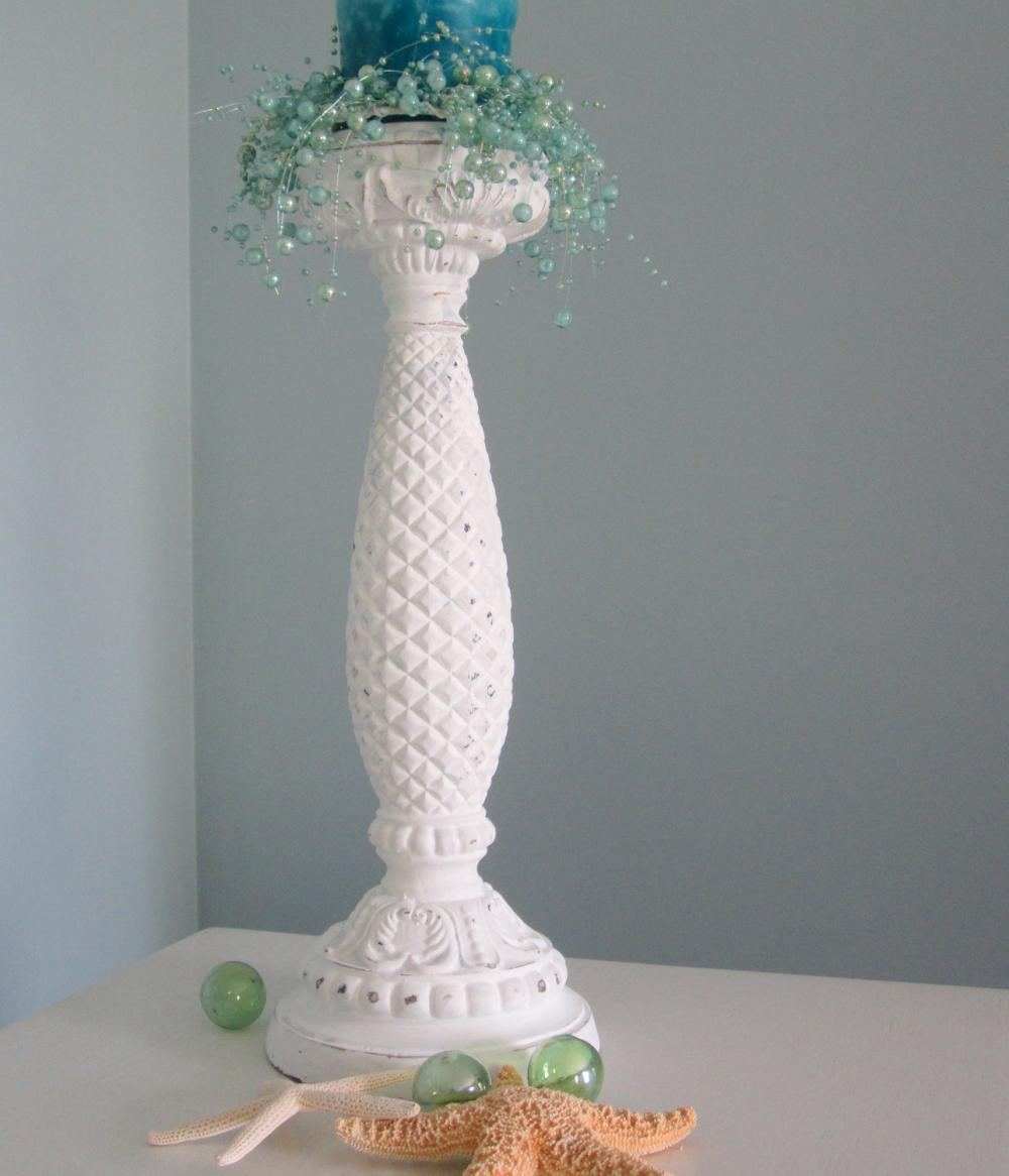 Beach Decor Candlestick - Nautical Cottage Shabby Chic Candle Stick , Distressed White