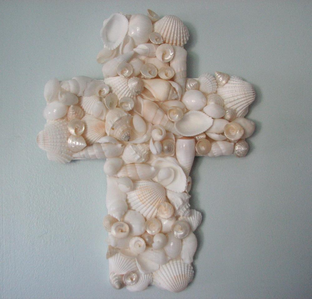 Beach Decor Seashell Cross - Nautical Decor Shell Cross for Wall Decor, Religious, White