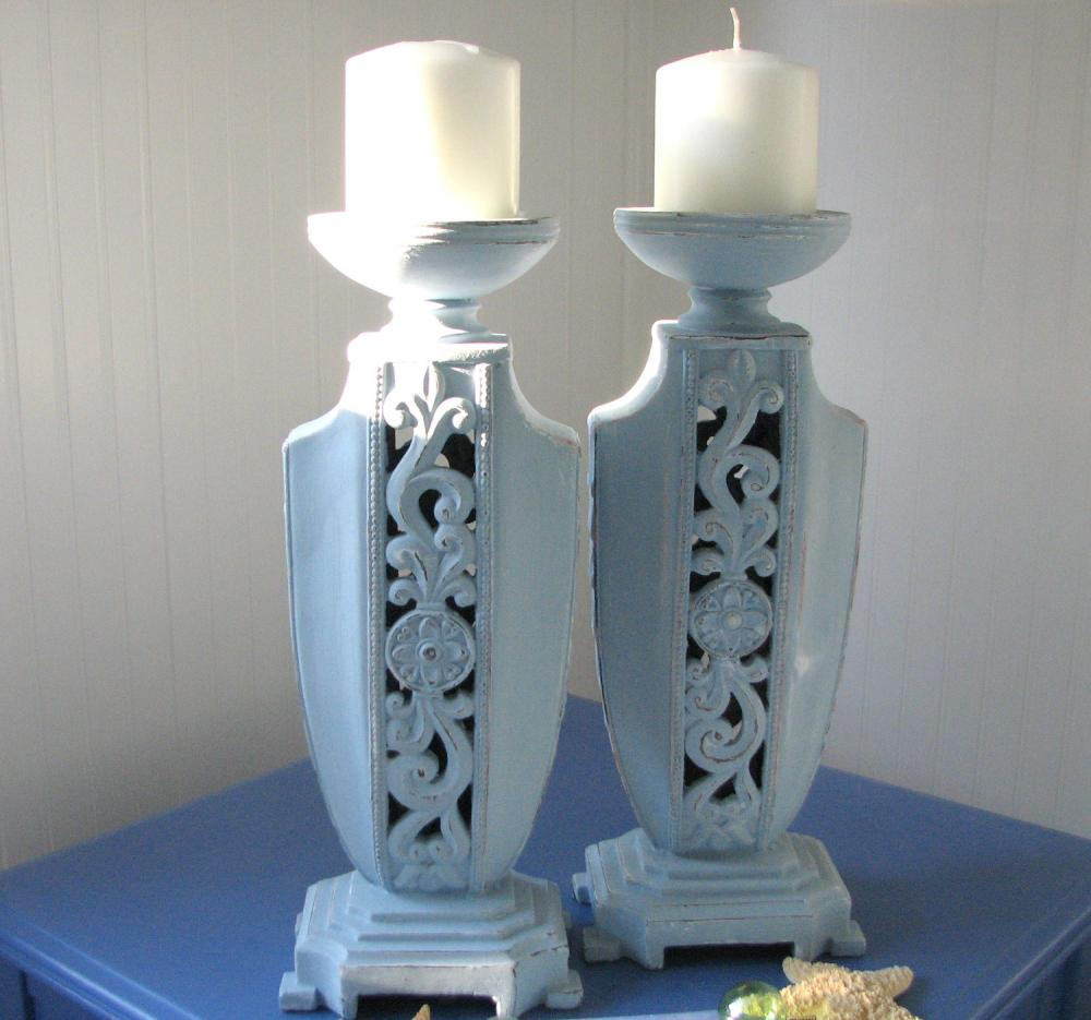 Beach Decor Candlesticks - Shabby Chic, Distressed, Art Deco, Blue, Cottage Chic