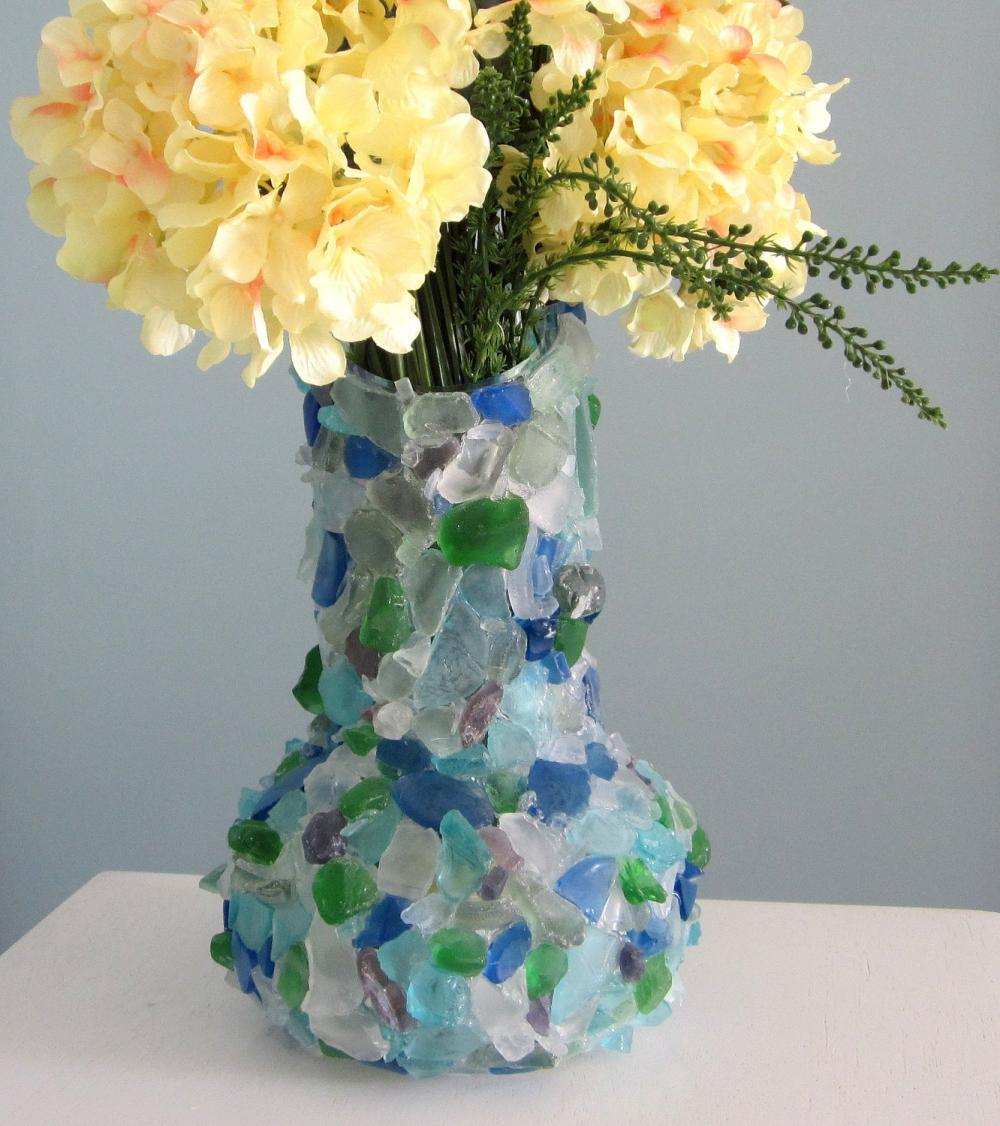 Beach Decor Sea Glass Vase - Nautical Watercolor Beach ...