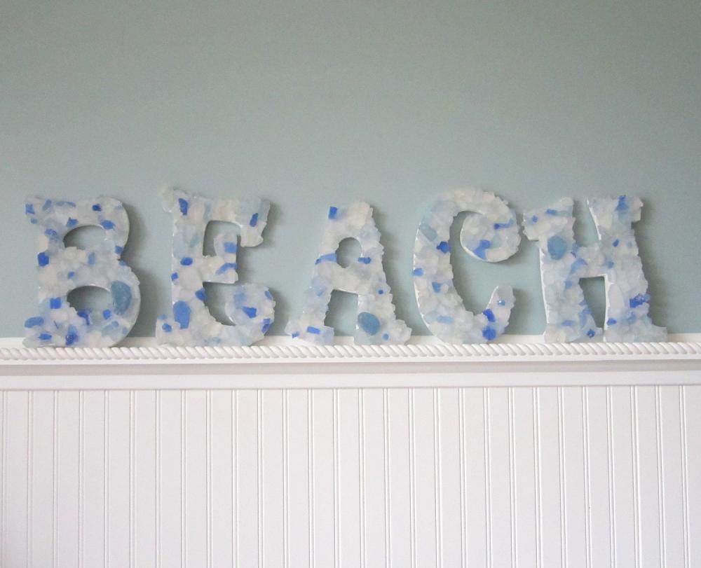 Beach Wall Letters Nautical Decor Sea Glass Decorative