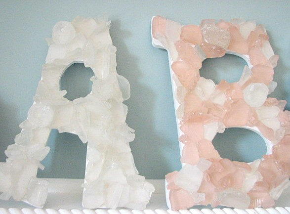 Glass Letters For Wall Sea Glass Beach Decor Wall Letters  Any 2 Nautical Beach Glass