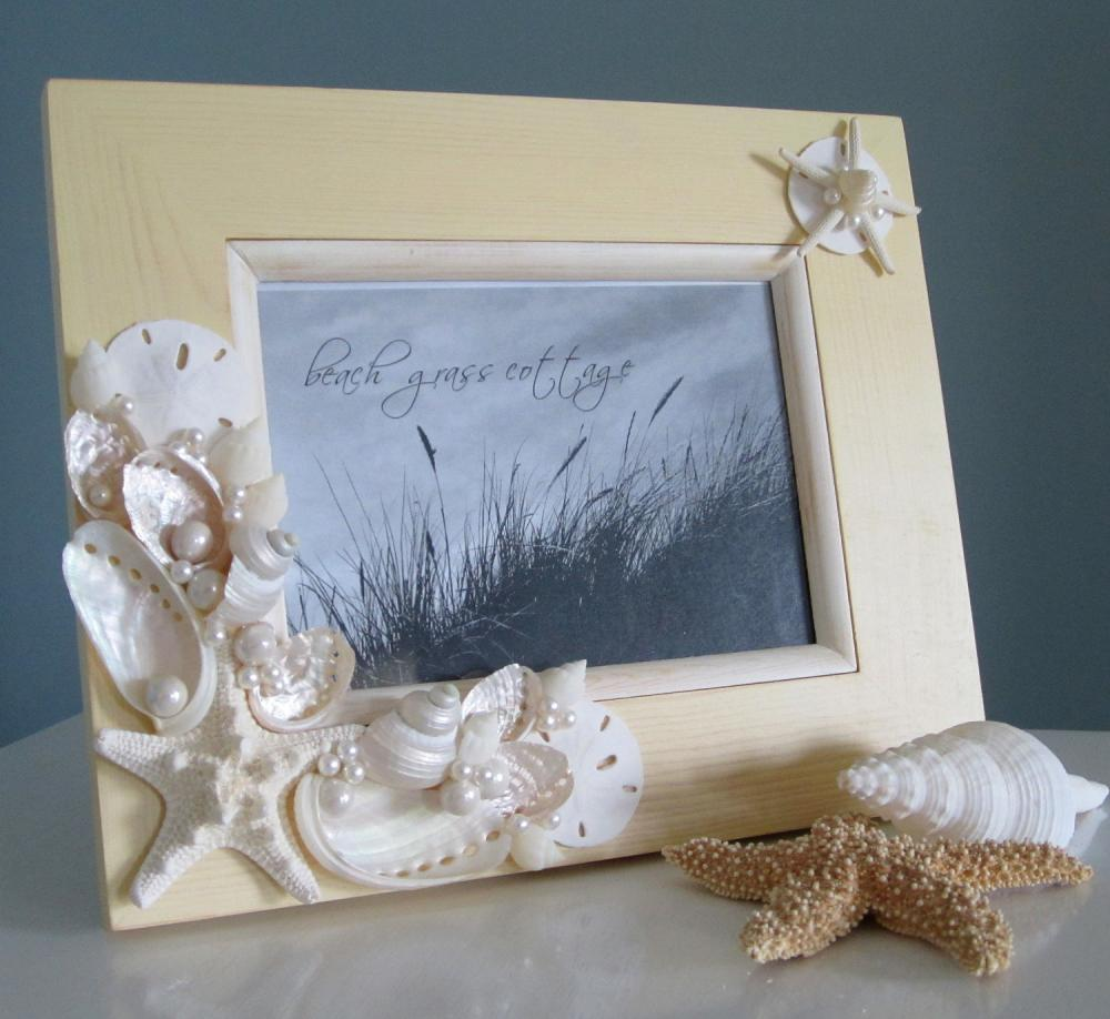 Free Shipping 4pcs Shell Pearl Beach Wall Painting Print: Nautical Home Decor Shell Frame In