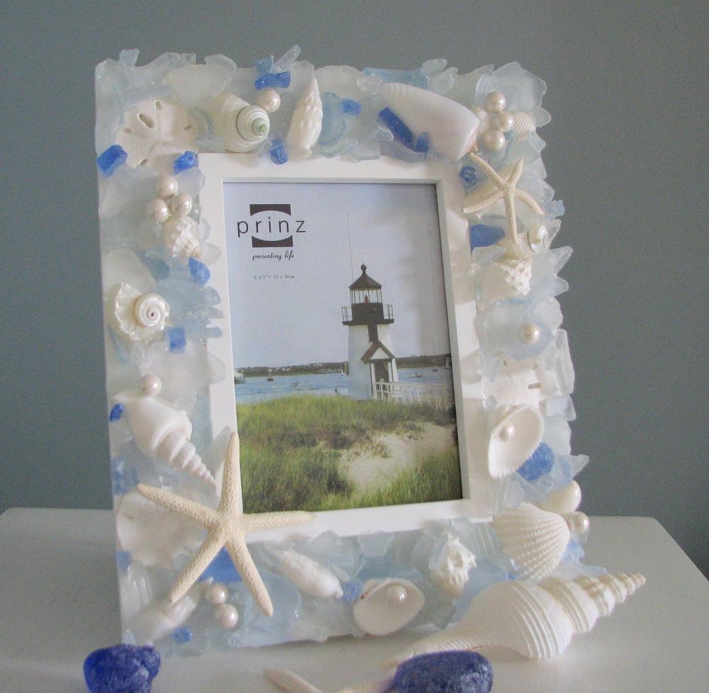 Free Shipping 4pcs Shell Pearl Beach Wall Painting Print: Beach Decor Seashell Frame