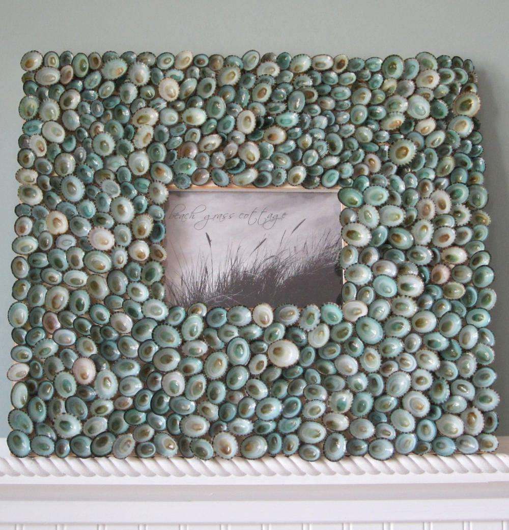 Beach Decor Wall Frame - Nautical Decor Aqua Limpet Picture Frame, Wall Sized