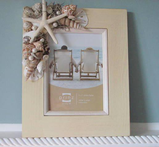 beach decor shell frame nautical decor seashell frame w starfish sand dollars 8x10 ivory - Nautical Picture Frames