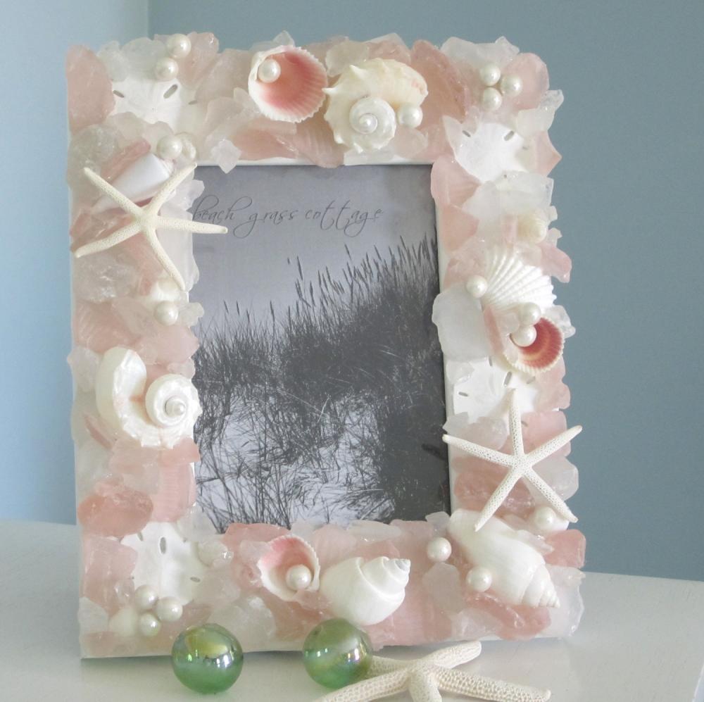 Shell Beach Frames - Beach Decor Sea Glass And Seashell Frame W ...