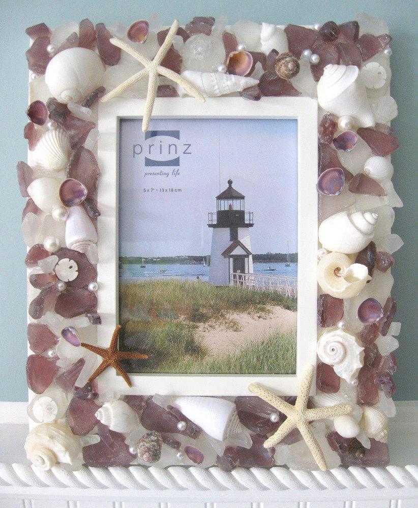 Free Shipping 4pcs Shell Pearl Beach Wall Painting Print: Beach Decor Seashell Frames