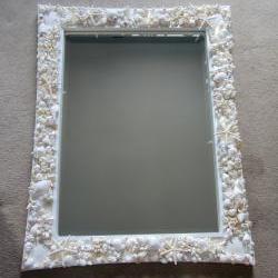 Beach Decor Shell Mirror in White - Nautical Decor Beach Seashell Mirror in Elegant White