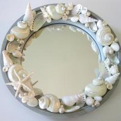 Beach Decor Seashell Mirror - Nautical Decor Porthole Shell Mirror w Starfish, Aqua 10.5 in