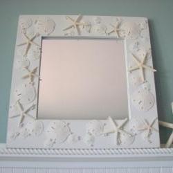 Shell Mirrors for Beach Decor - Seashell Mirror in All White w Starfish, Sand Dollars & Pearls