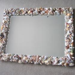 Seashell Mirrors for Beach Decor - Nautical Decor Shell Mirror in Natural or All White, Lg Rectangular