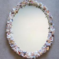 Beach Decor Seashell Mirror - Nautical Decor Natural Shell Mirror w Sea Glass, Oval