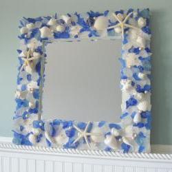 Seashell Mirrors for Beach Decor - Nautical Shell Mirrors w Sea Glass, Starfish & Pearls - Blue