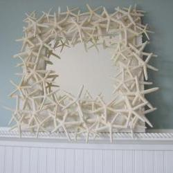 Starfish Mirror - Beach Decor Shell Mirror - Starfish Seashell Mirrors w White Starfish