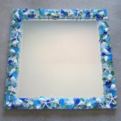 Shell Mirror for Beach Decor - Seashell Mirror w Sea Glass & Starfish - Square, Any Color