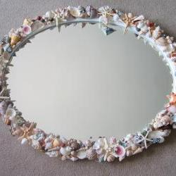 Beach Decor Seashell Mirror - Nautical Decor Natural Shell Mirror, Oval