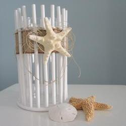 Beach Decor Candle Holder or Vase - Lg. Nautical Decor White Bamboo w Starfish, 2 sizes