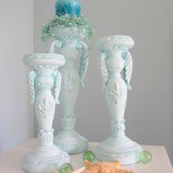 Beach Decor Candlesticks - Nautical Cottage Shabby Chic Candle Sticks, Aqua Set of 3
