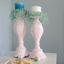 Beach Decor Candlesticks - Nautical Cottage Shabby Chic Candle Sticks , Light Pink