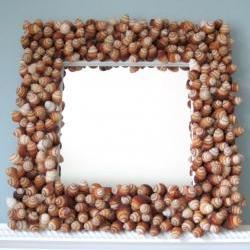 Beach Decor Seashell Mirror - Nautical Decor Shell Mirror w Twisted Brown Snails