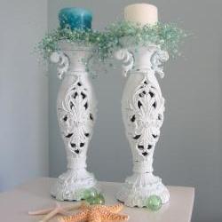 Beach Decor Candlesticks - Nautical Cottage Shabby Chic Candle Sticks , Light Aqua, Ornate