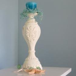 Beach Decor Candlestick - Nautical Cottage Shabby Chic Candle Stick , Butter Yellow