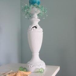 Nautical Decor Candlestick - Beach Decor Cottage Shabby Chic Candle Stick , Distressed White