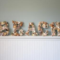 Nautical Decor Shell Letters - Beach Decor Seashell Letters Spell BEACH, Natural Shells