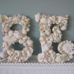 Shell Letters for Beach Decor - Any (2) Nautical Decor Seashell Letters, All White