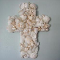 Beach Decor Seashell Cross - Nautical Decor Shell Cross for Wall Decor, Religious, White
