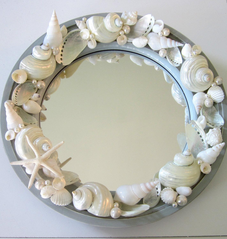 Beach Decor Seashell Mirror - Nautical Decor Porthole Shell Mirror W ...