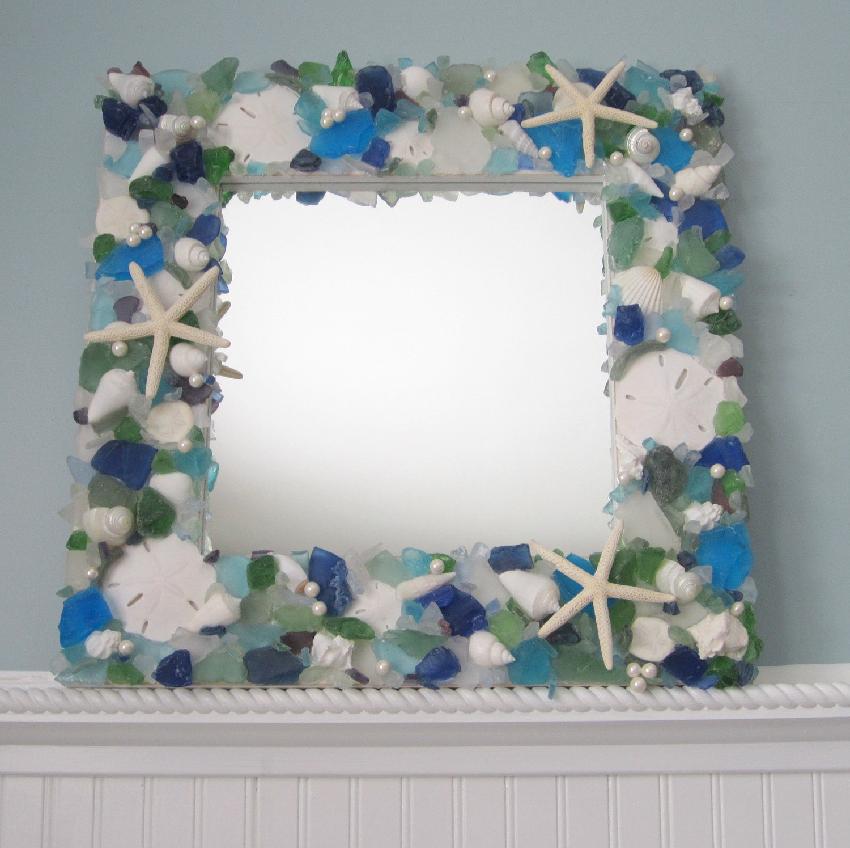 Free Shipping 4pcs Shell Pearl Beach Wall Painting Print: Sea Glass & Seashell Mirror Beach Decor