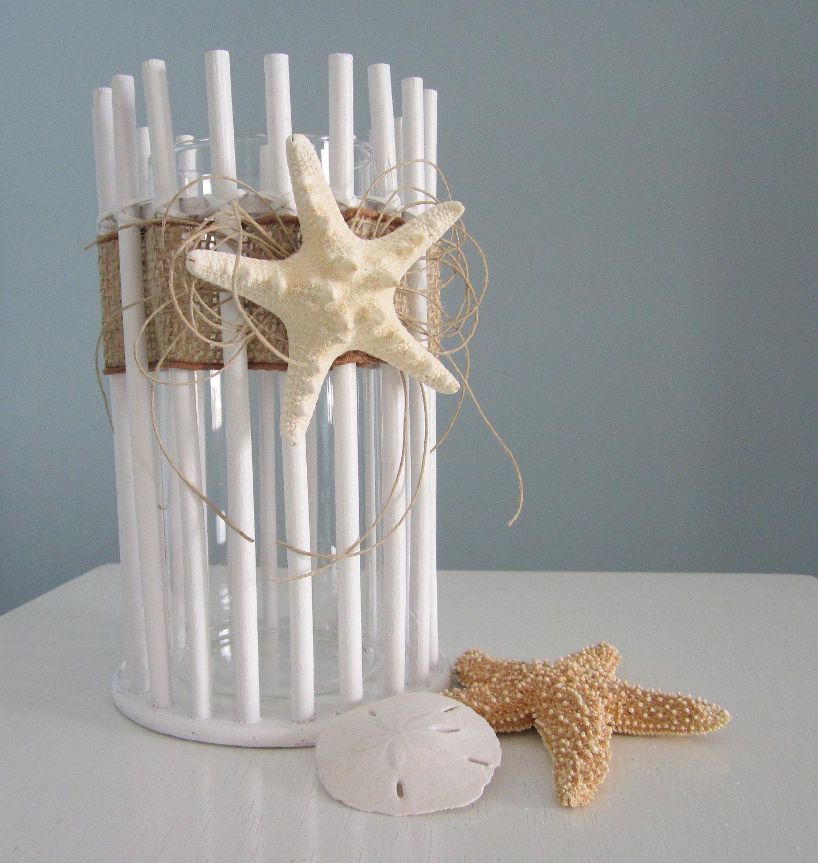 Beach decor candle holder or vase lg nautical decor white beach decor candle holder or vase lg nautical decor white bamboo w starfish 2 sizes reviewsmspy