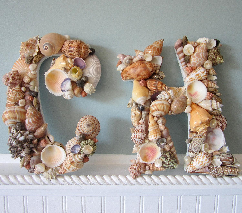 Shell Letters for Beach Decor - Any (2) Nautical Decor Seashell ...