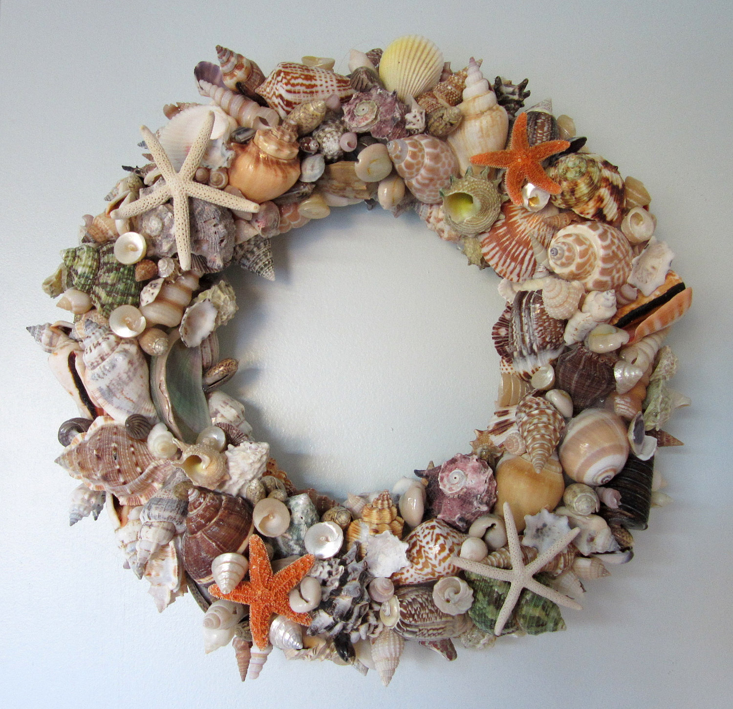 beach decor seashell wreath nautical decor shell wreath w starfish