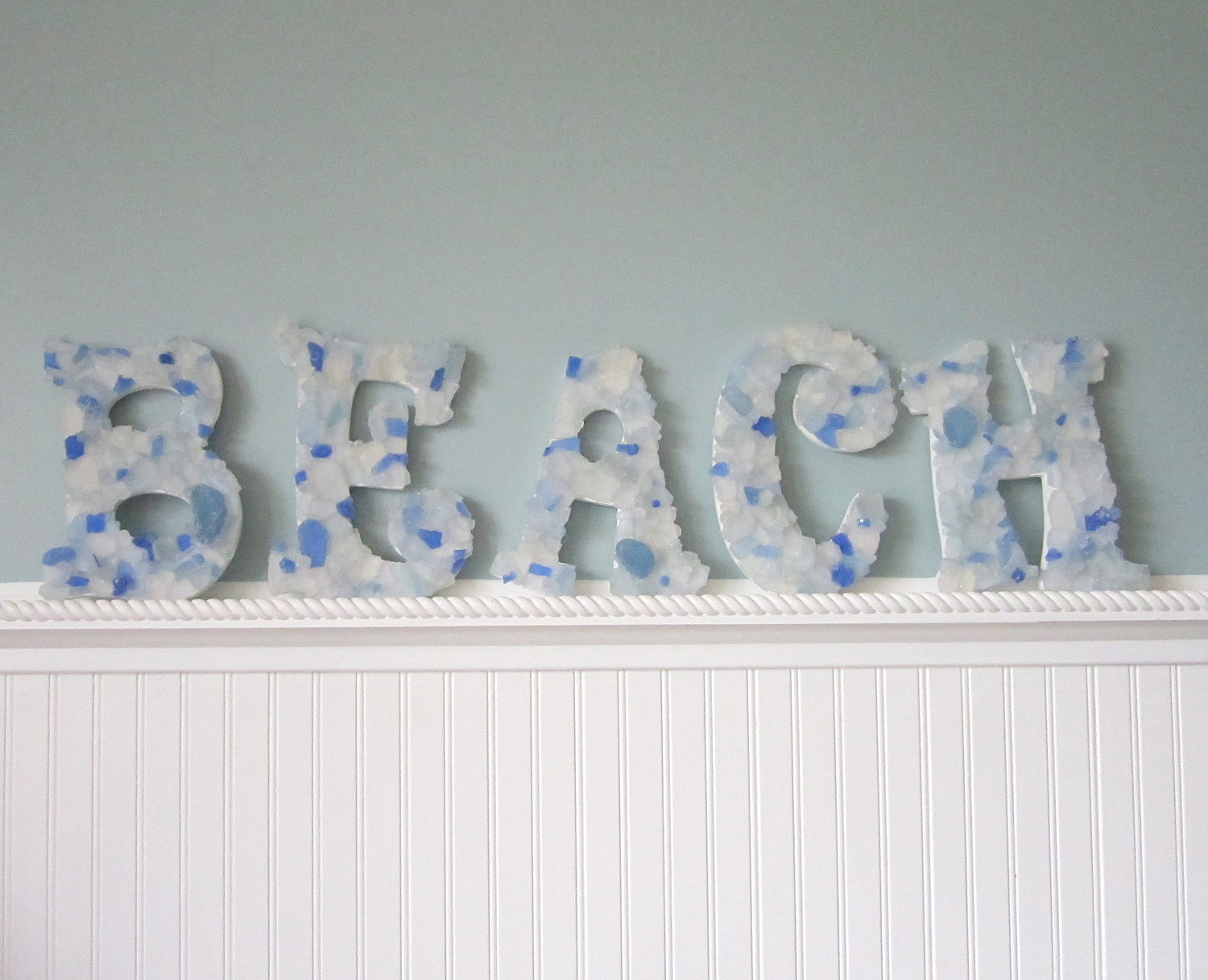 Beach Wall Letters   Nautical Decor Sea Glass   Decorative Letters W Beach  Glass, Many Colors