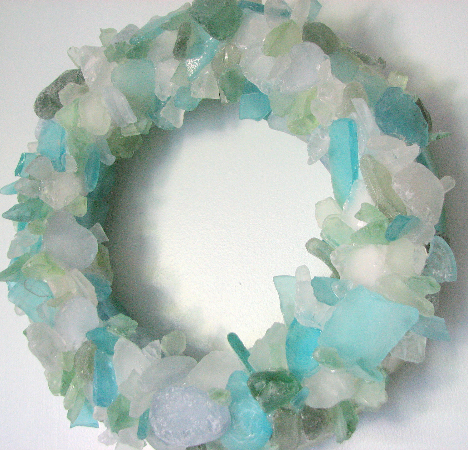 Beach Decor Sea Glass Wreath - Nautical Beach Glass Wreath ...