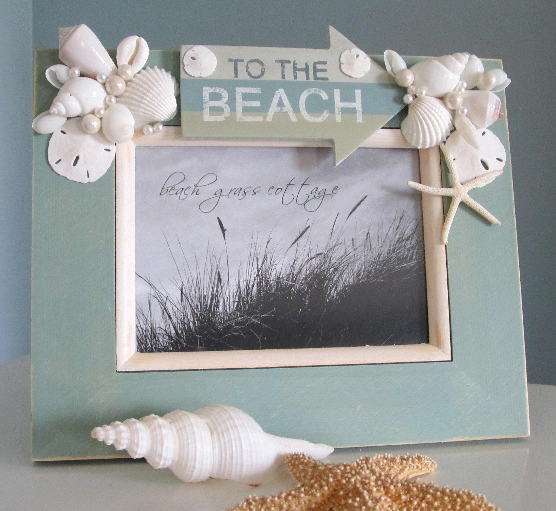 Beach Decor Seashell Frame Nautical Shell With Sign 5x7 Aqua