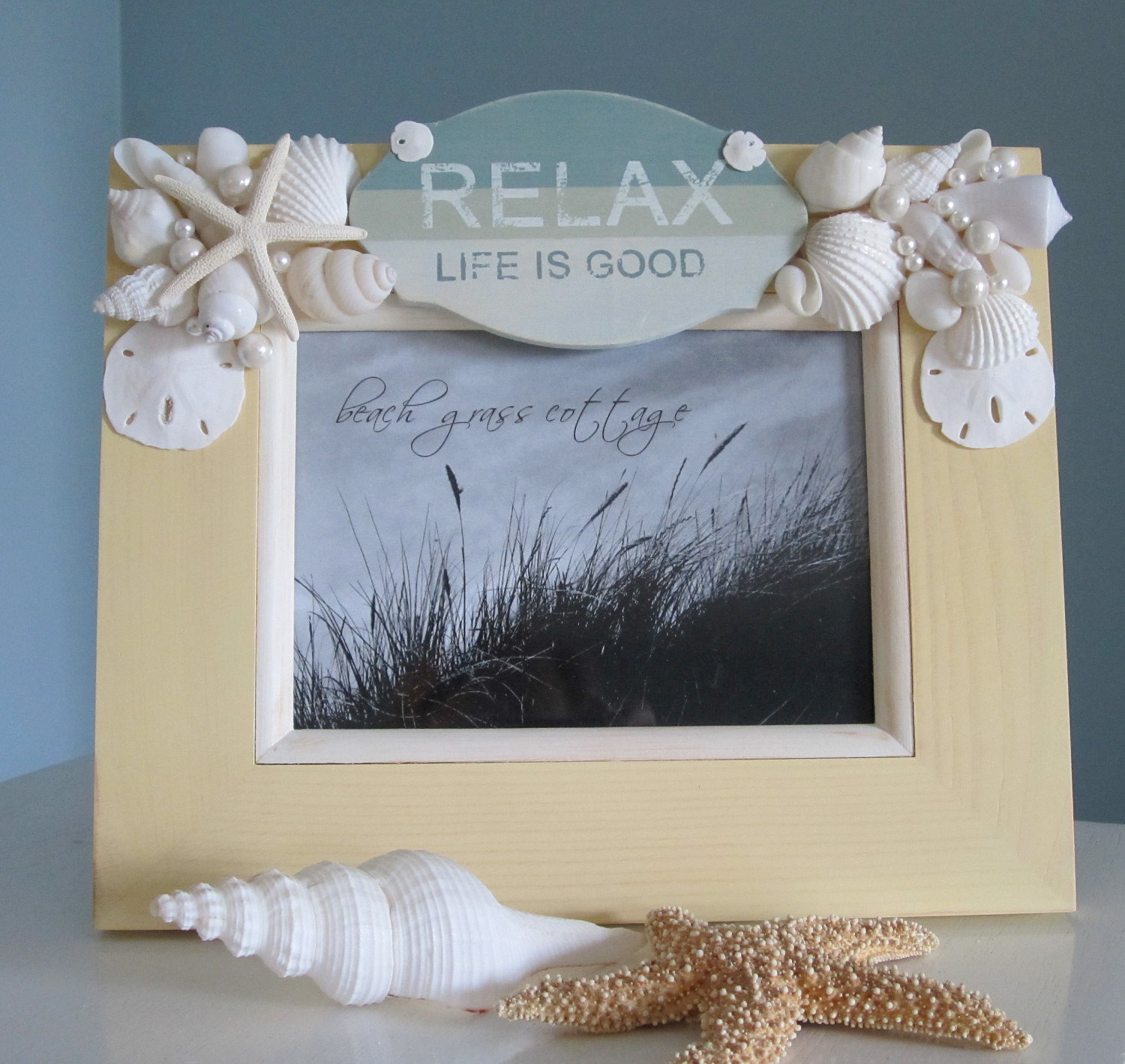 beach decor seashell frame nautical decor shell frame with relax sign 8x10 ivory - Nautical Picture Frame