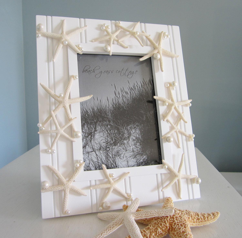Free Shipping 4pcs Shell Pearl Beach Wall Painting Print: Nautical Starfish Shell Frame