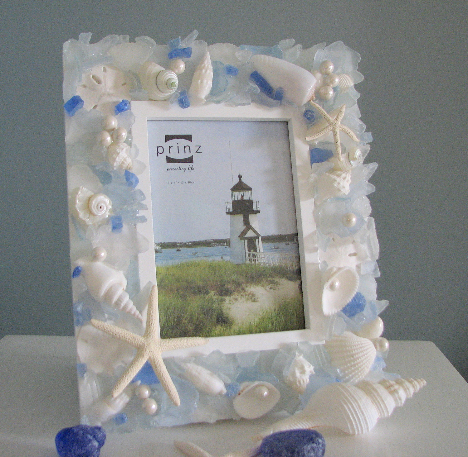 Beach Decor Seashell Frame Sea Glass Shell Frame W Starfish